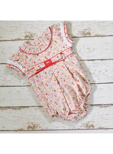 ZUCCINI CORP Smocked Red Flower Print Bubble