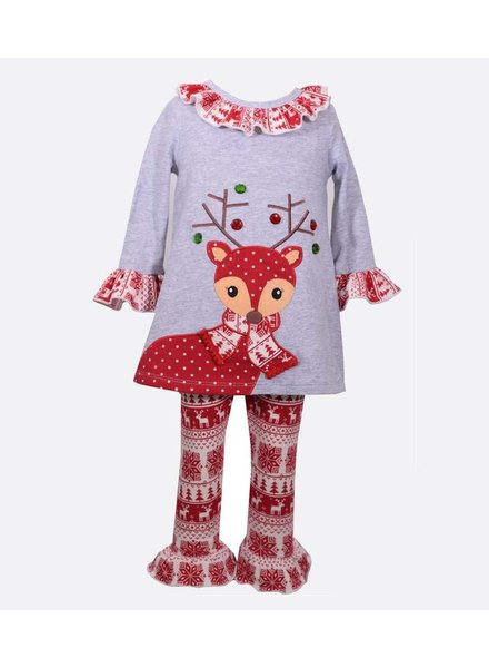 BONNIE JEAN Girls Reindeer Ruffle Leggings Set