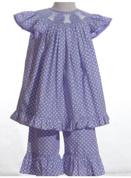 Lavender Polkadot Smocked Bunnies Angel Sleeve Ruffle Capri Set