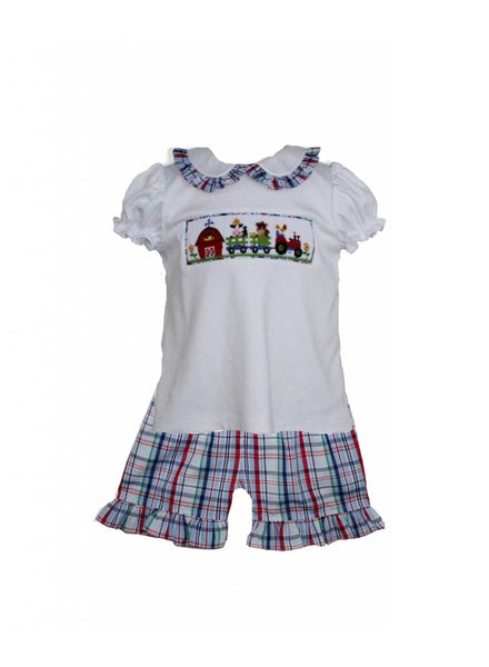 ZUCCINI CORP Farm Girl Smocked Peter Pan Collar Blouse with Matching Plaid Shorts