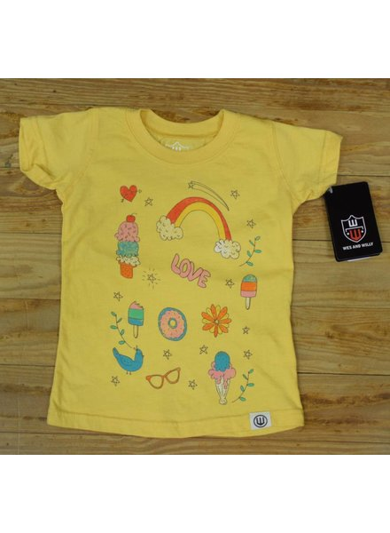 WES & WILLY Girls Rainbow Short Sleeve Graphic Tee