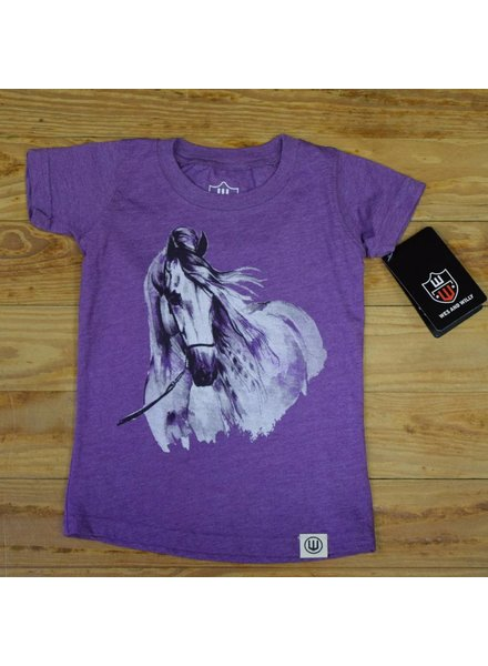 WES & WILLY Girls Horse Short Sleeve Graphic Tee