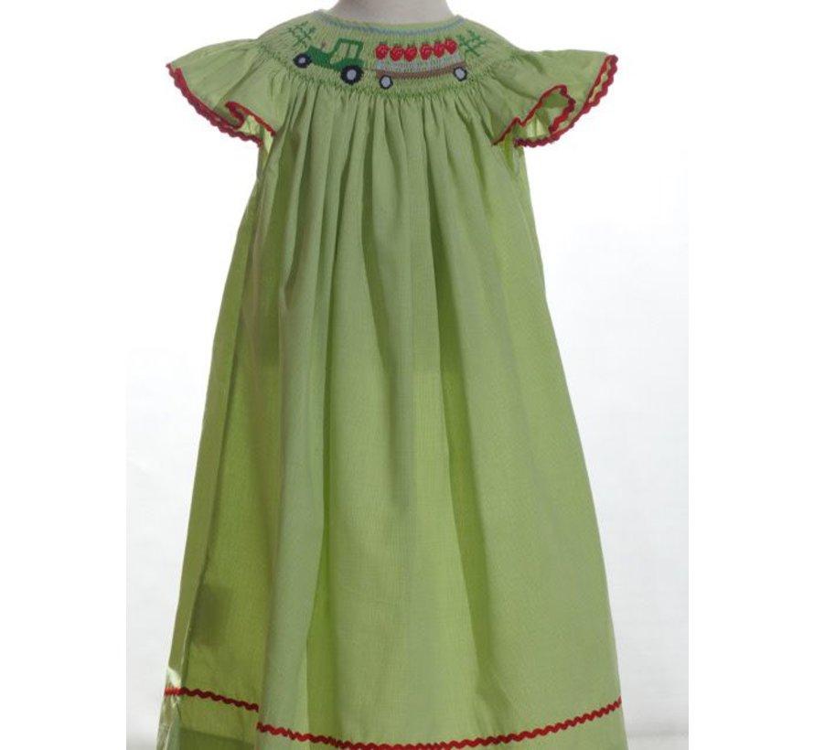 Smocked Tractor and Strawberries Angel Sleeve Bishop Dress