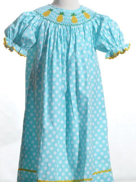 Pineapple Smocked Bishop Dress