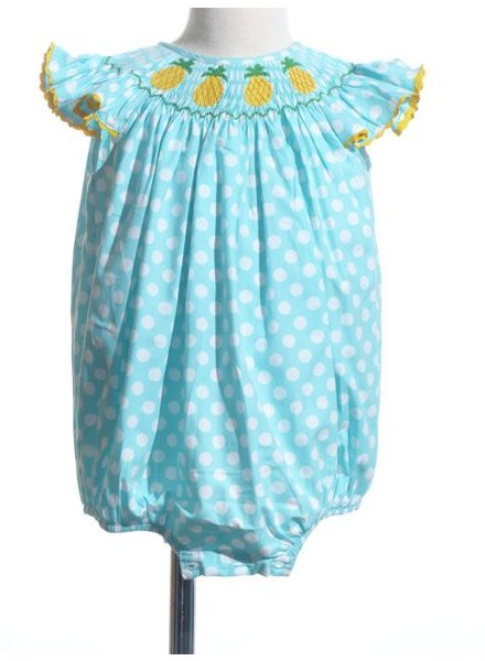 Pineapple Angel Sleeve Smocked Bishop Bubble