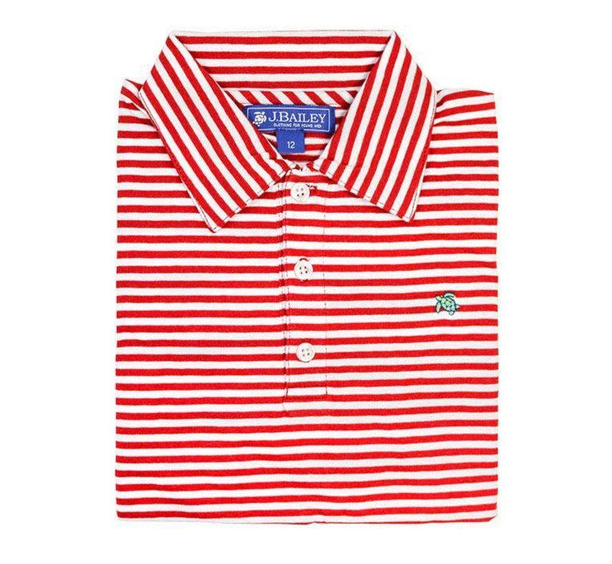 Red and White Stripe Polo