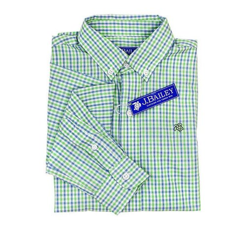 J BAILEY Button Down Shirt in Surf Blue and Green Check