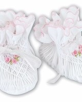 Sarah Louise Smocked Bootie with Pink Trim