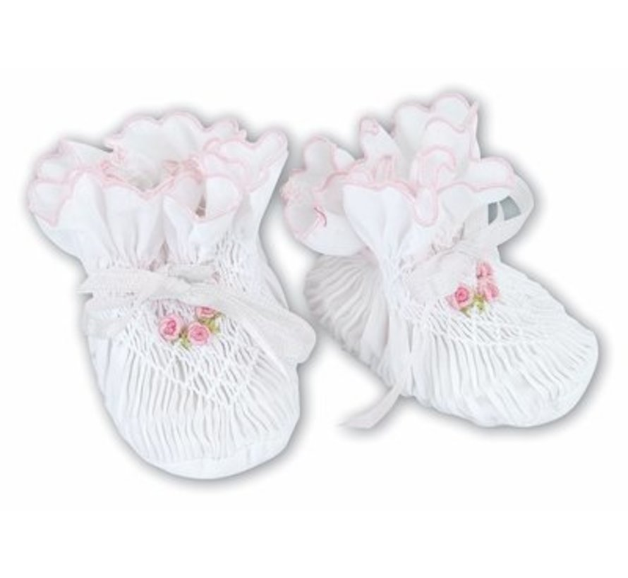 Smocked Bootie with Pink Trim