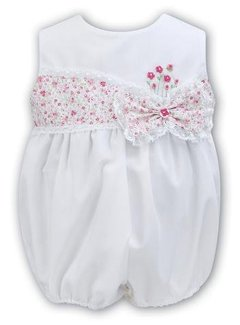 Sarah Louise Sleeveless White Bubble With Hand Embroidered Flowers