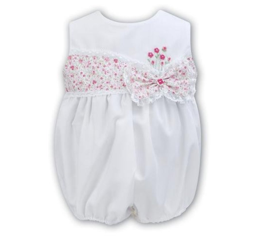 Sleeveless White Bubble With Hand Embroidered Flowers