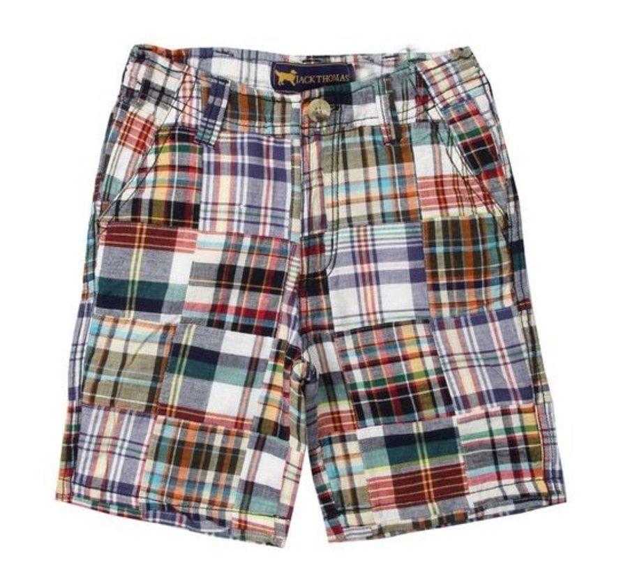 Patriotic Navy Patchwork Shorts