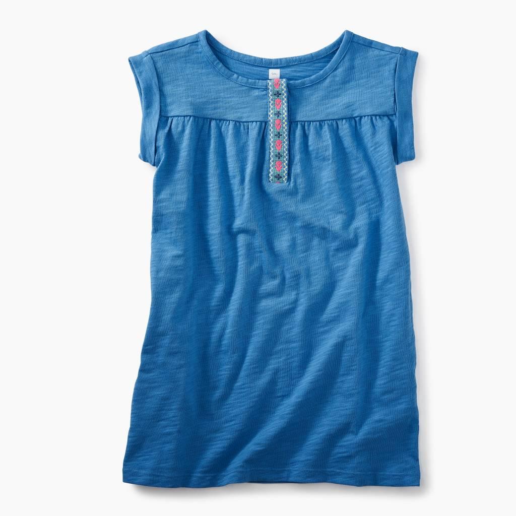 Tea Collection Short Sleeve Placket Trim Dress