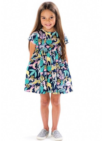 Smiling Button Tropical Jungle Sunday Dress