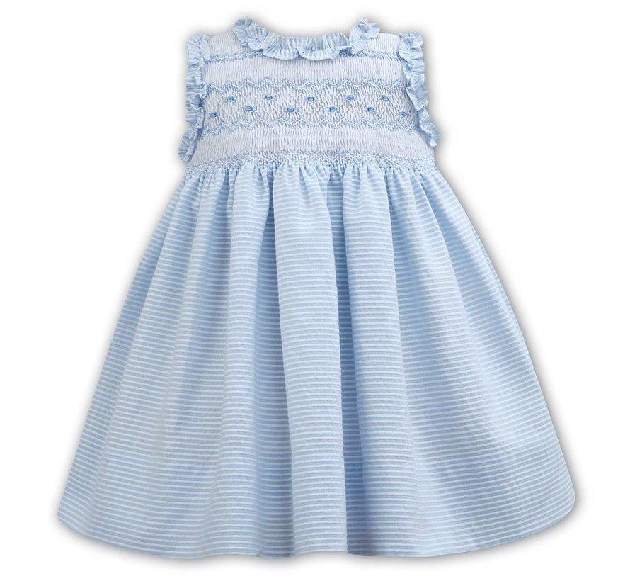 Blue Striped Seersucker Sleeveless Smocked Dress