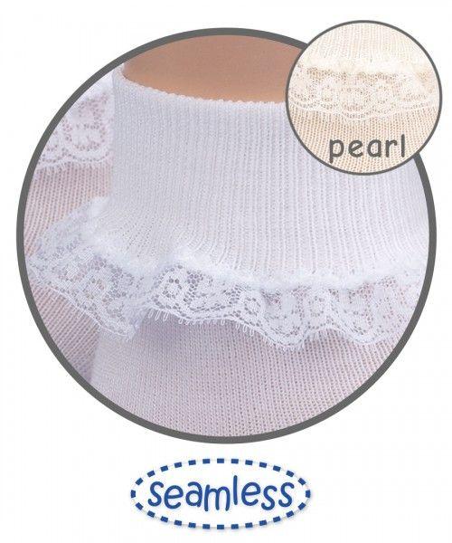 JEFFERIES SOCKS Simplicity White  Lace Turn Down Sock