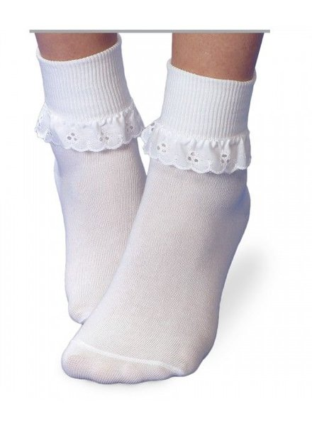 JEFFERIES SOCKS Eyelet Ruffle Turn Down Socks