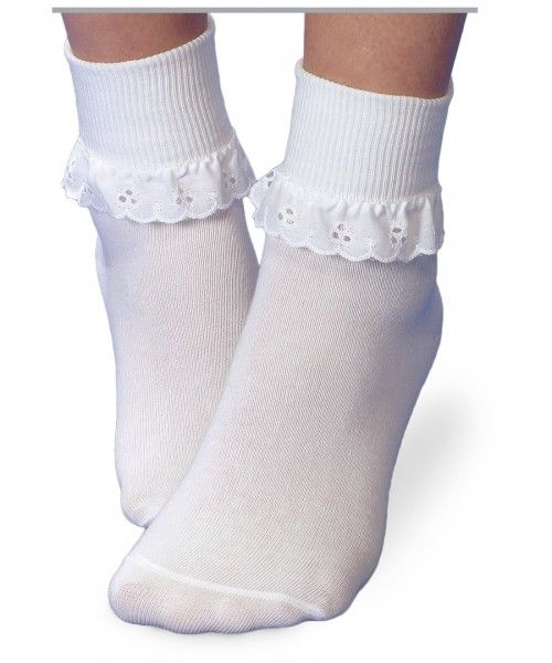 JEFFERIES SOCKS Eyelet Ruffle Turn Down Socks