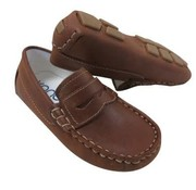 Kone Driving Moccasin Penny Loafer Style in Copper Distressed Leather