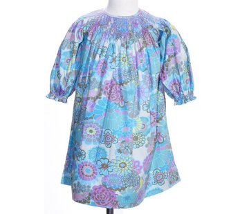 Fall Watercolor Floral Longsleeve Smocked Geo Bishop Dress