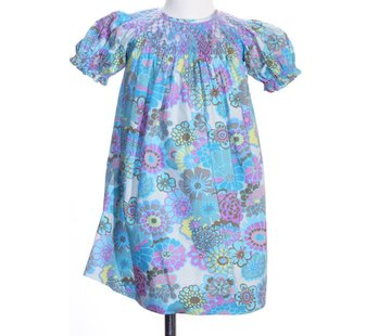 Fall Watercolor Smocked Geo Short Sleeve Bishop Dress