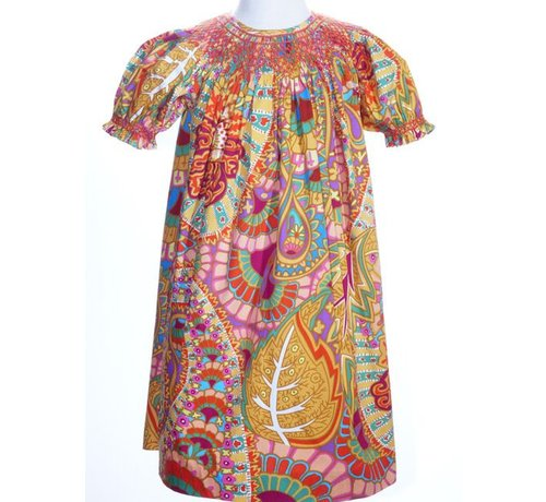 Fall Abstract Paisley Smock Geo Short Sleeve Bishop Dress