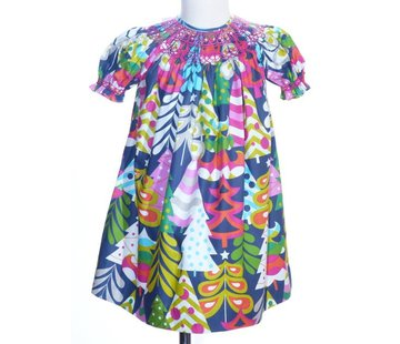 Geo Smocked Mondern Christmas Tree Print Short Sleeve Bishop Dress
