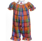 Fall Plaid Barnyard Smocked Short Sleeve Long Romper