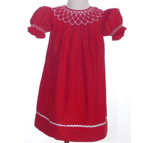 Red Cord Geo Smocked Pearl Short Sleeve Bishop Dress