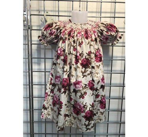 Vintage Floral Geo Smocked Short Sleeve Bishop Dress