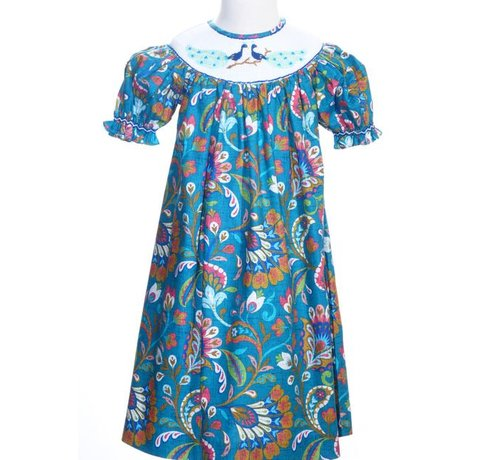 Smocked Peacock Short Sleeve Bishop Dress