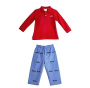 ZUCCINI CORP Embroidered Train Polo and Reversible Pants Set