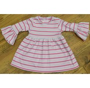 ZUCCINI CORP Basic Bell Sleeve Dress in Pink Multi Stripe