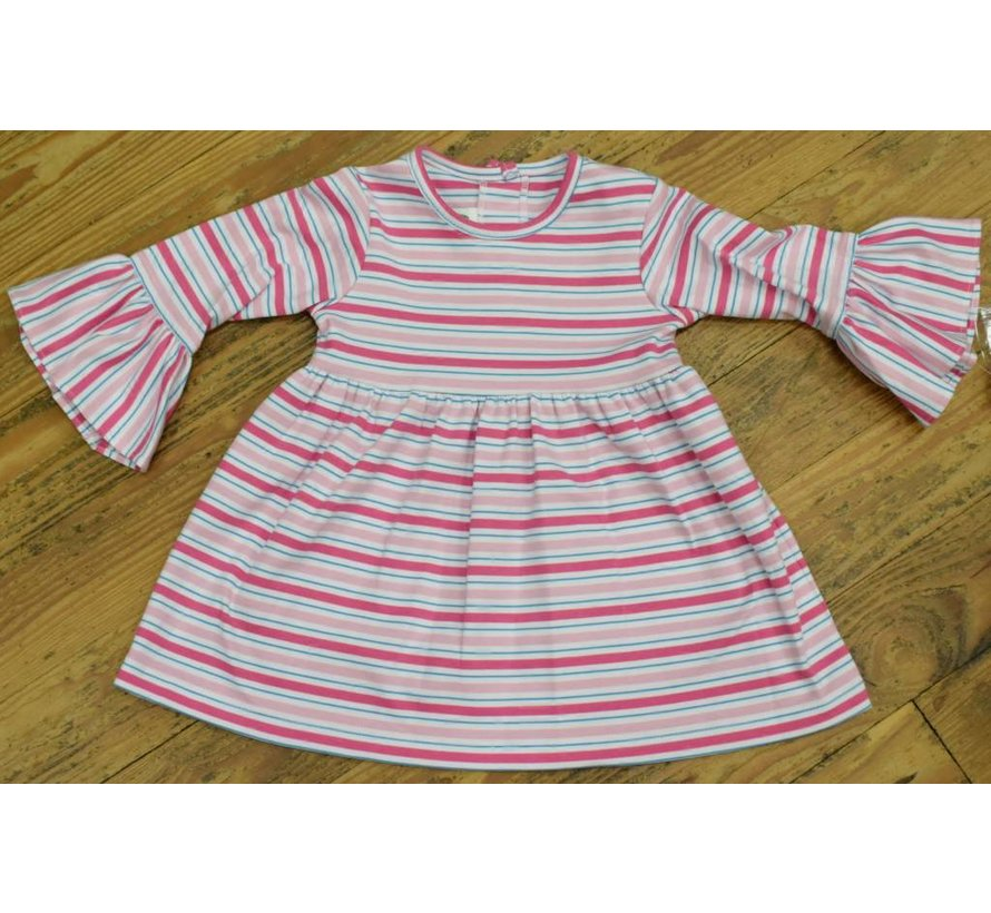 Basic Bell Sleeve Dress in Pink Multi Stripe