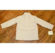 ZUCCINI CORP Basic Knit Pullover Half Zip Jacket in Khaki Stripe