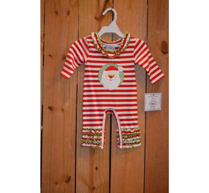 Santa Applique Girls Knit Romper