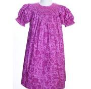 Smocked Magenta Flowered Dress W/Pearl Embelishments