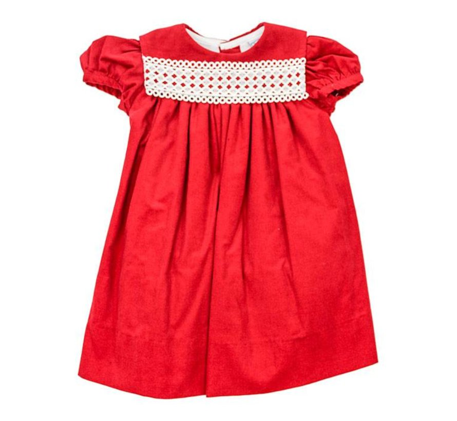 Red Corduroy Float Dress with Lace