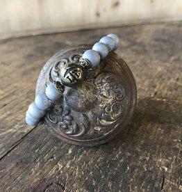 Beaded Bracelet Matte Druzy Silver