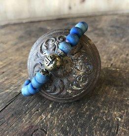 Beaded Bracelet Matte Druzy Teal