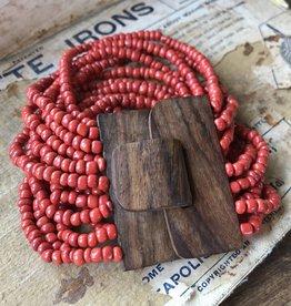 Beaded Wood Cuff Bracelet