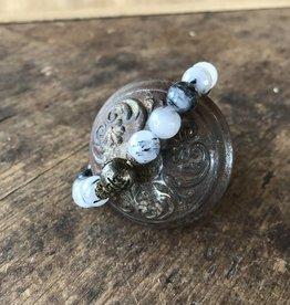 beaded bracelet black quartz