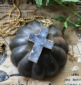Druzy Cross Pendant black