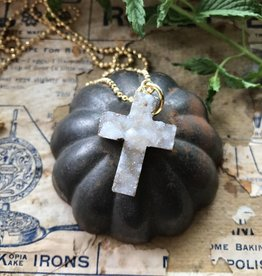 Druzy Cross Pendant white