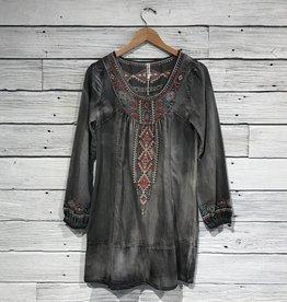 Embroidered Denim Dress
