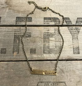 Blessed Hammered Bar Necklace