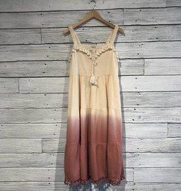 Cream Rose dip dye midi dress