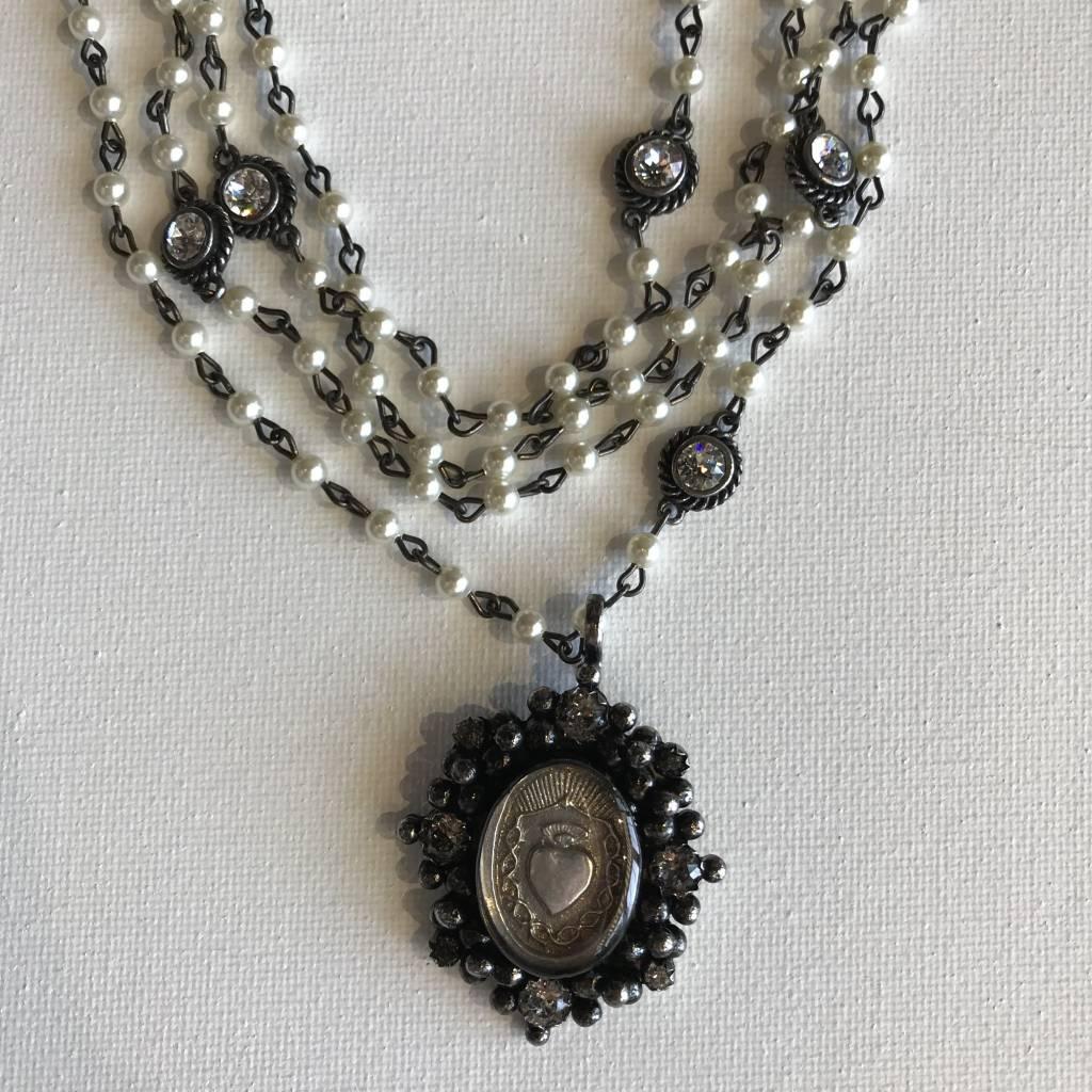 Virgins Saints & Angels Sacred Heart Oval Pearl Necklace