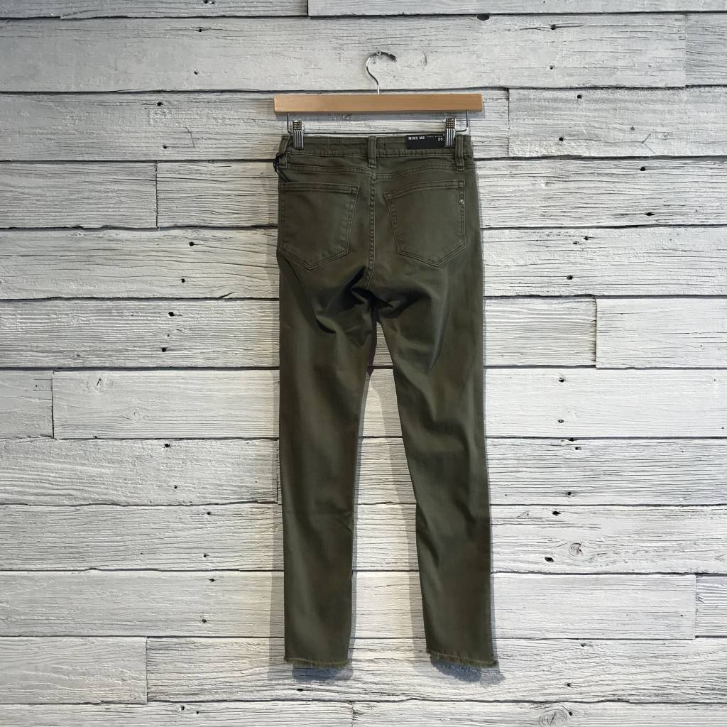 Frayed Ankle Skinny in Army Green