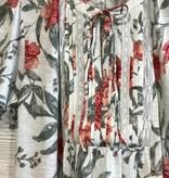 Lucky Brand Flutter Sleeve Lace Mix Blouse Multi